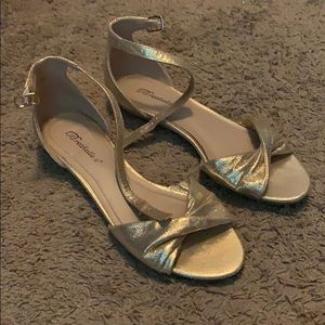 Gold ankle strap flats
